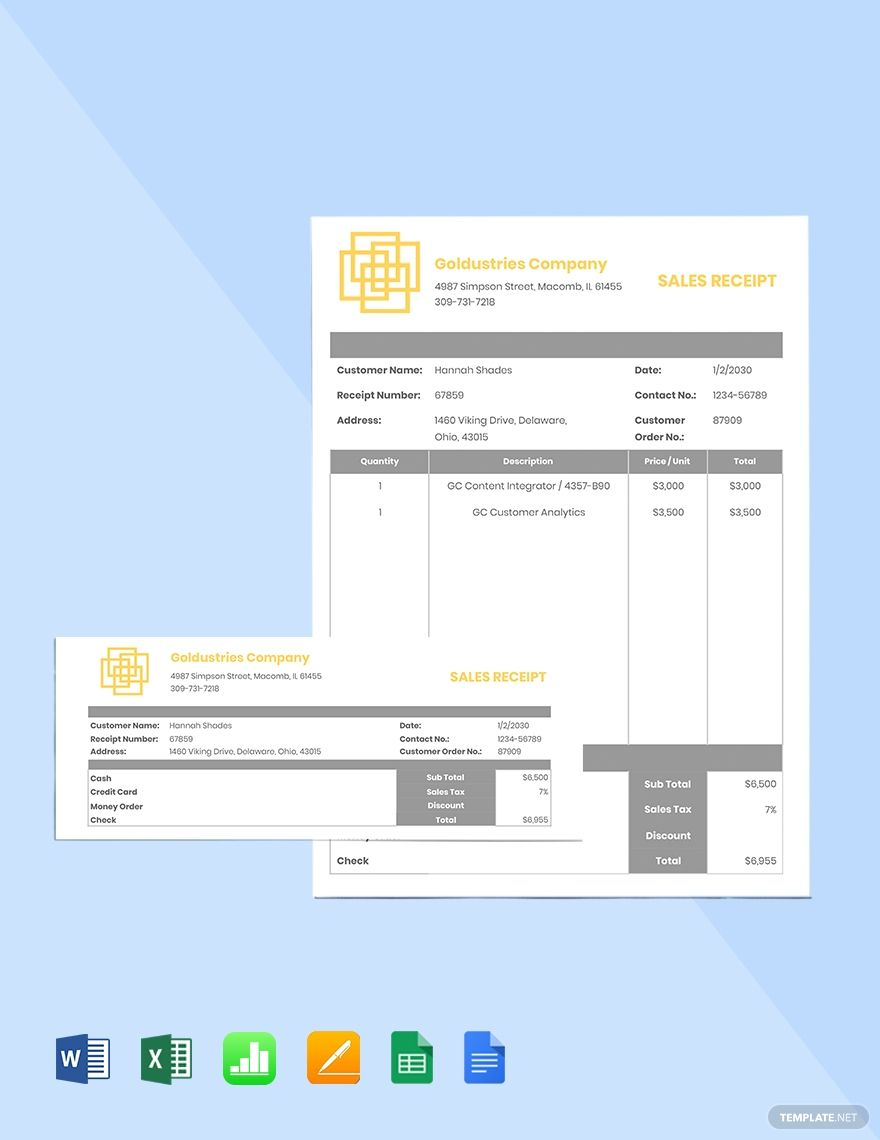 Free It Sales Receipt Template Word Apple Pages Google Docs Google Sheets Apple Numbers Receipt Template Templates Docs Templates