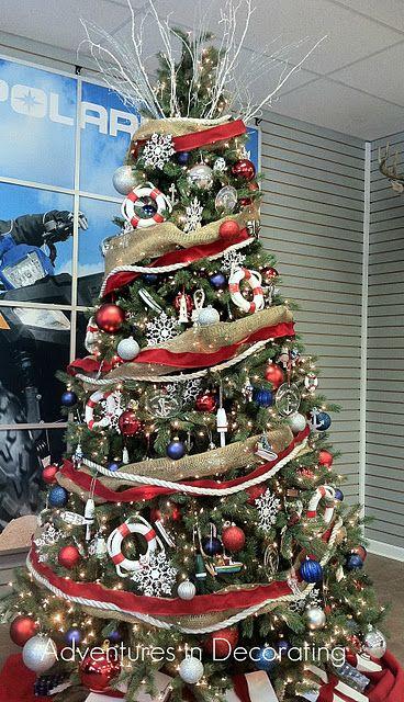 red white blue christmas tree, nautical Holiday Decor Pinterest