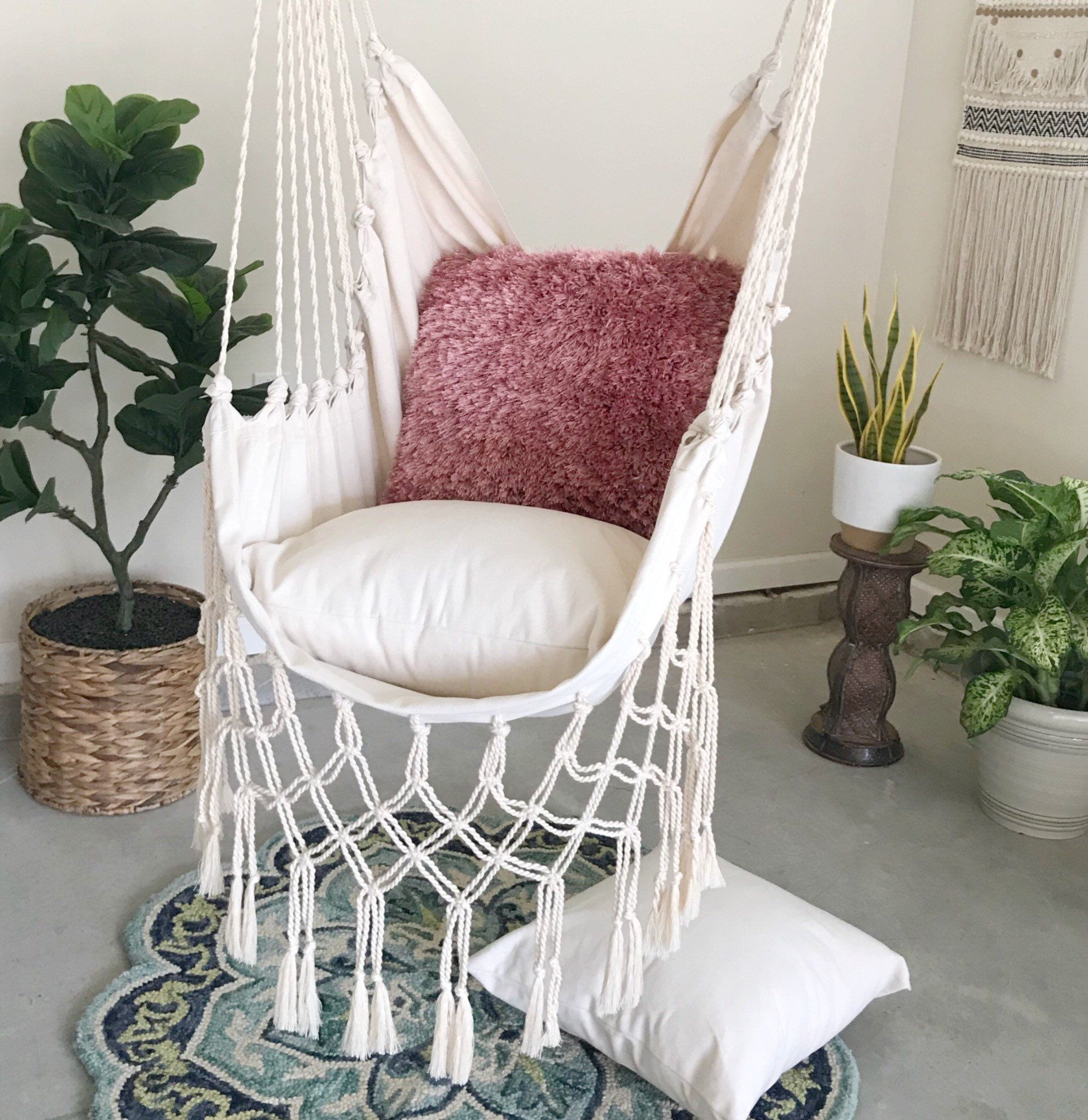 Magnificent Junior Off White Macrame Hammock Chair 2 Pillow Set Boho Pabps2019 Chair Design Images Pabps2019Com