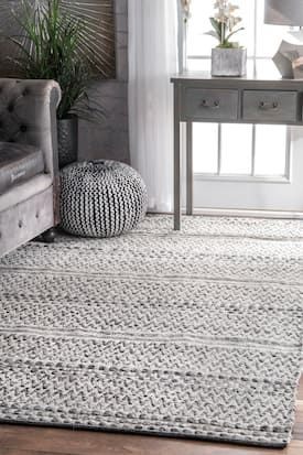 Rugs Usa Silver Mentone Reversible Striped Bands Indoor