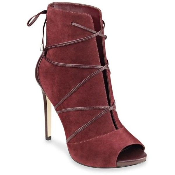 Guess Red Wine Ayana Open Toe Dress Booties  Womens 42  liked on