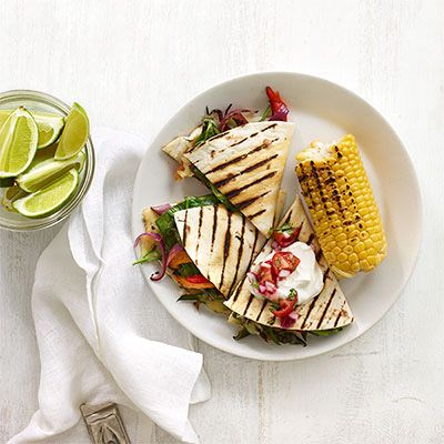 Grilled Spinach and Poblano Quesadillas Recipe - Delish.com