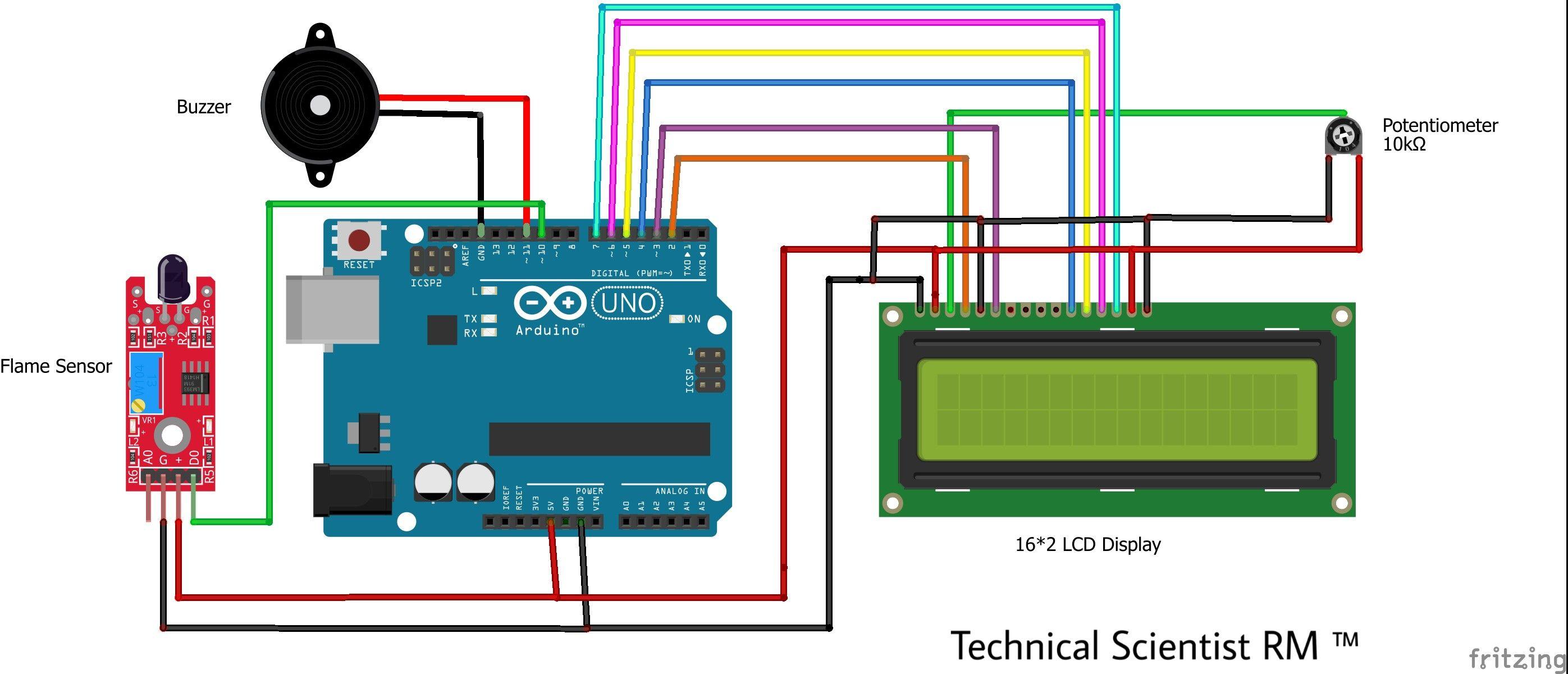 Fire Alarm Using Flame Sensor Lcd Display 16 2 Arduino Sensor Fire Alarm Arduino