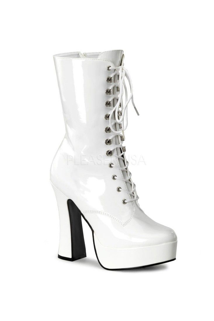 6cdfc91318e The features for these boots include a patent faux leather upper with a  front lace up tie design