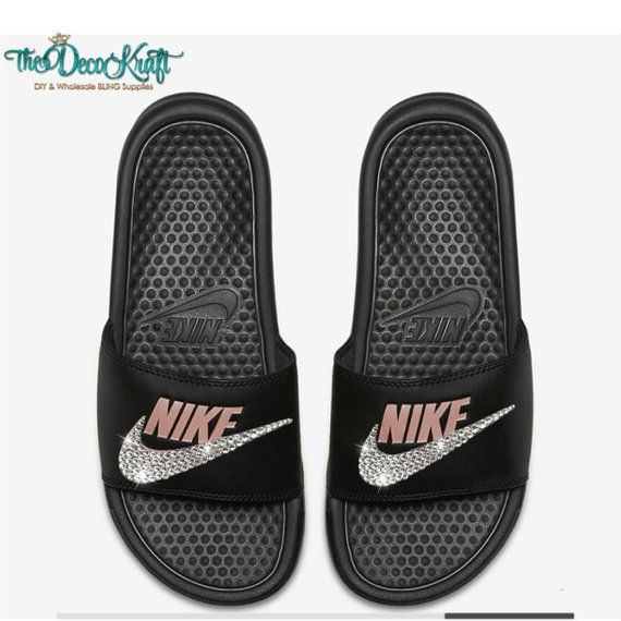 39fbad6c8 Nike Benassi Slides Sandals Black Rose Gold Custom Bling Clear Crystal Swarovski  Flip Flops