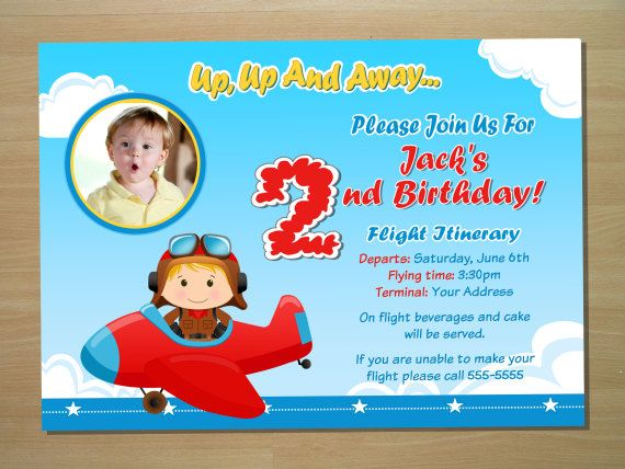 Airplane Birthday Invitation Invite Printable File Or Printed - Digital birthday invitation template