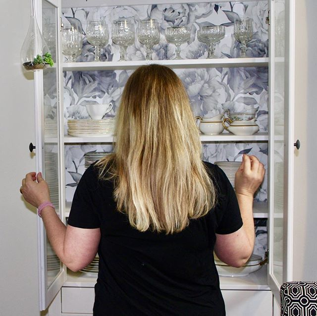 Oh which china should I choose? Decisions, decisions. I love the bold & beautiful floral wallpaper that took our IKEA cabinet from plain Jane to WOW!