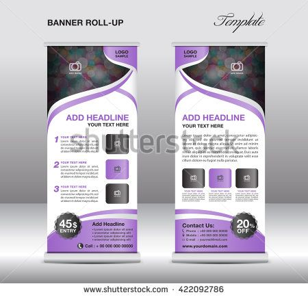 Red Roll Up Banner Stand Template Advertisement Flyer Design