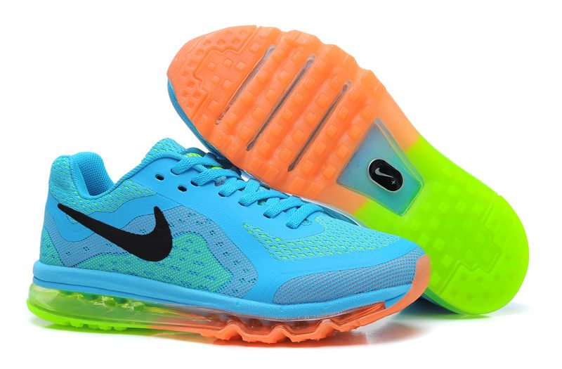 Cheap Nike Air Max 2014 Kids SkyBlue Black Orange Kids Shoes For Wholesale