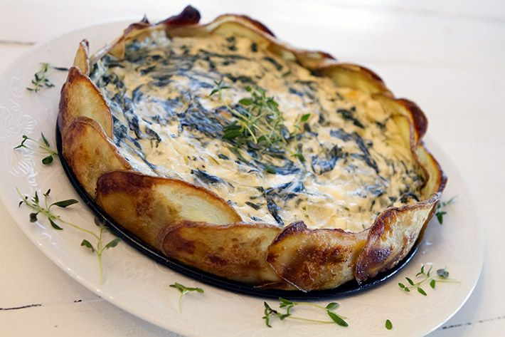 Potetpai med feta, ricotta og spinat