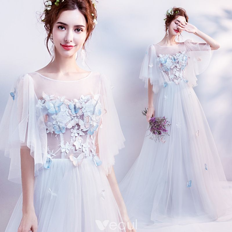 44ba94a542f Elegant White See-through Evening Dresses 2018 A-Line   Princess Scoop Neck  1 2 Sleeves Butterfly Appliques Lace Pearl Chapel Train Ruffle Backless  Formal ...