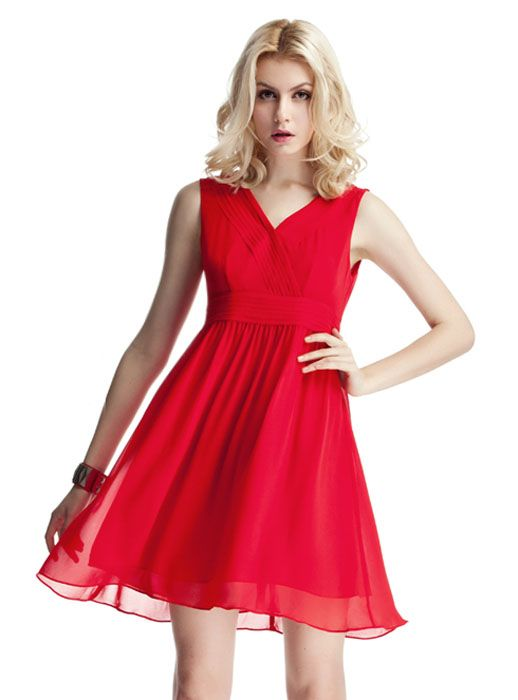 red simple and elegant sleeveless v-neck dress$79 (with