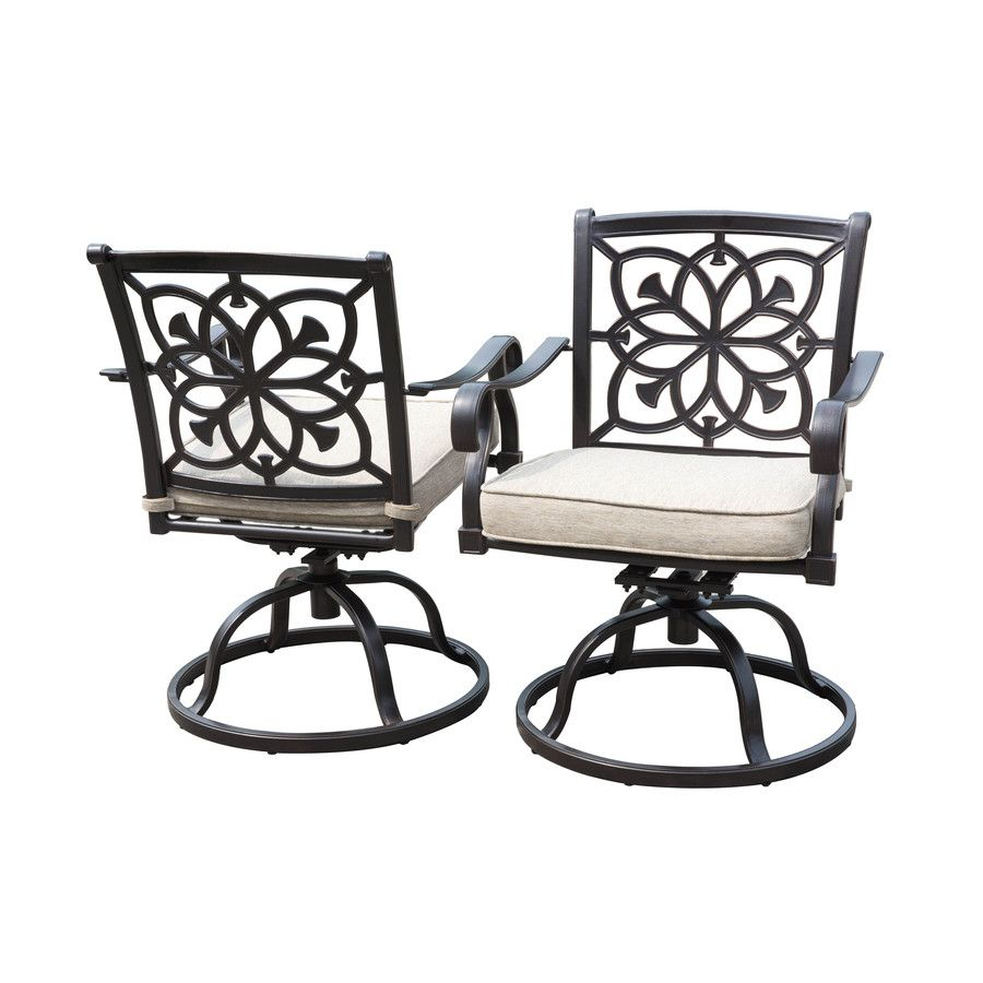 Allen Roth Ebervale 2 Count Aged Bronze Aluminum Swivel Patio Dining Chairs With Tan Solartex Cushions Patio Chairs Patio Dining Chairs Patio Dining Table