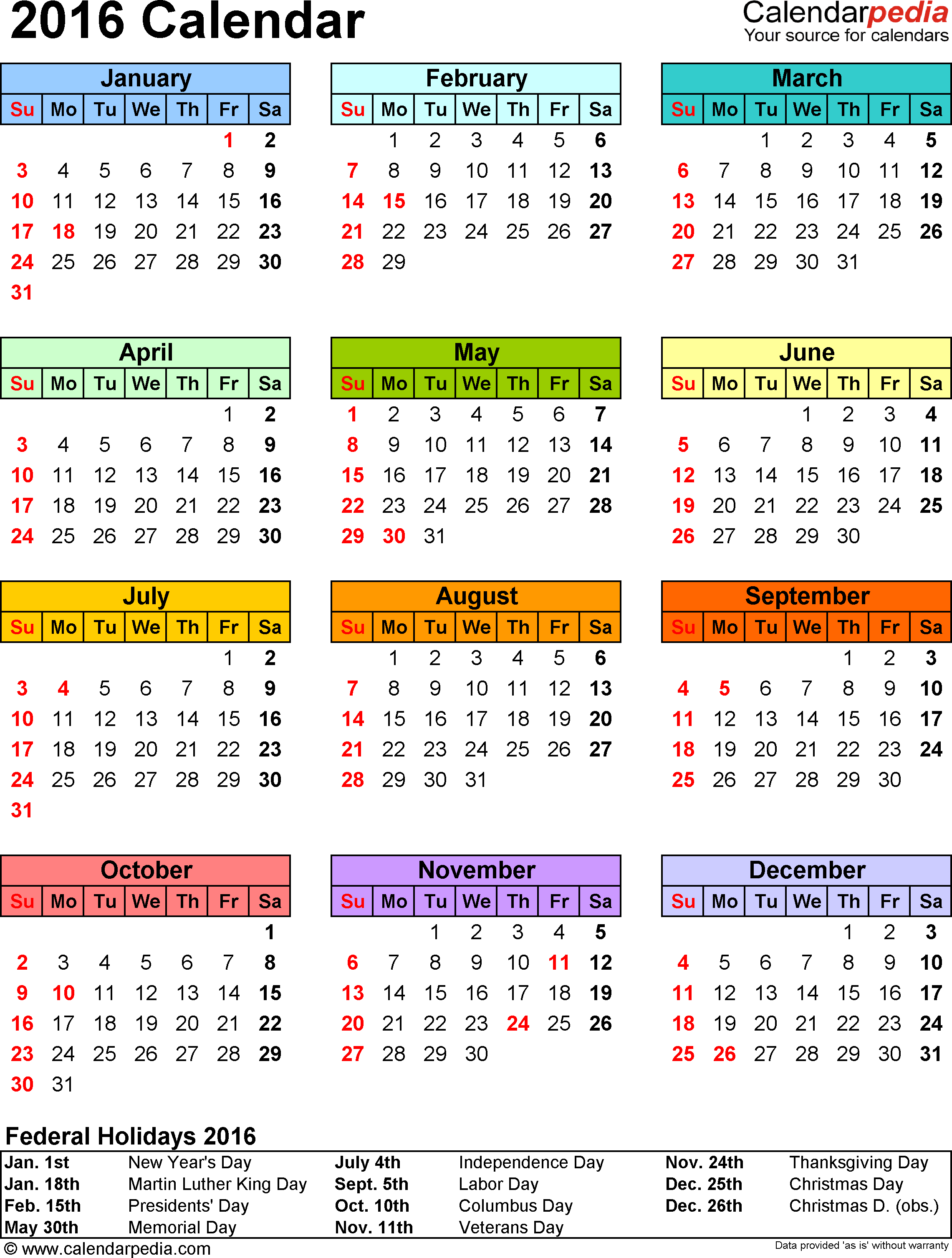 Template 9 Calendar For Excel Year At A Glance 1 Page In Color Portrait Orientation