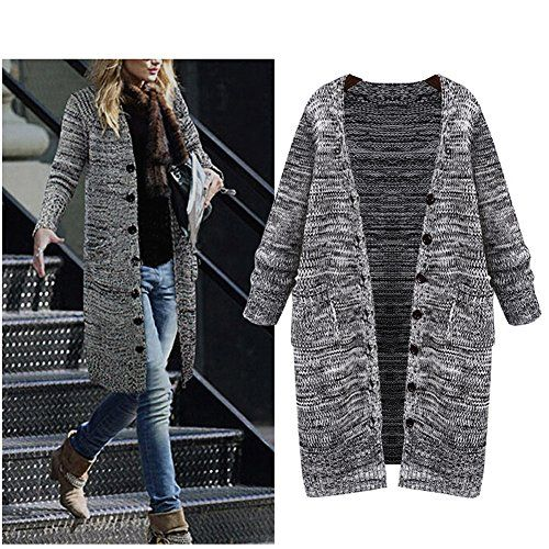 Womens AutumnWinter Plus Size Knitted Long Cardigan Sweater with ...