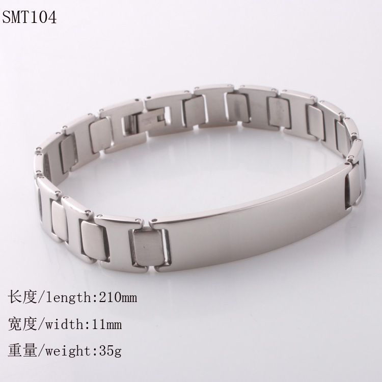 High quality shiny stainless steel stampable ID plate bracelet mens
