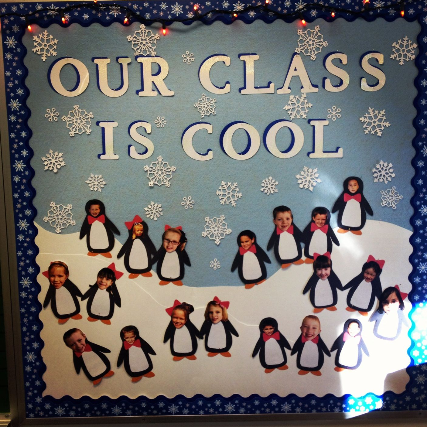 Winter bulletin boards ideas pinterest - Penguin Bulletin Board Our Homeschool Is Cool With Photo Laminated Larger Penguins