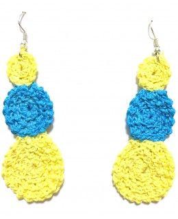 Blue & yellow circles of life crochet earrings (ジャマイカで手作り)