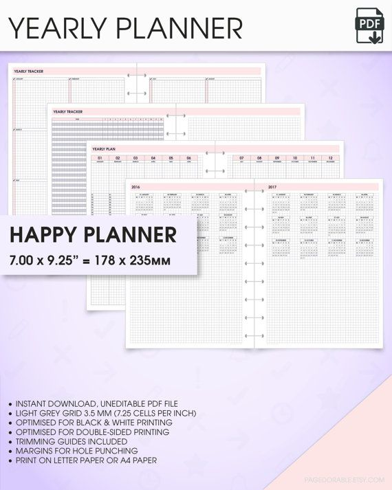 Yearly Planner Printable   Happy Planner Inserts Yearly