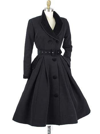 Velvet Trimmed Vintage Style Black | 1950s style, Blue velvet and ...