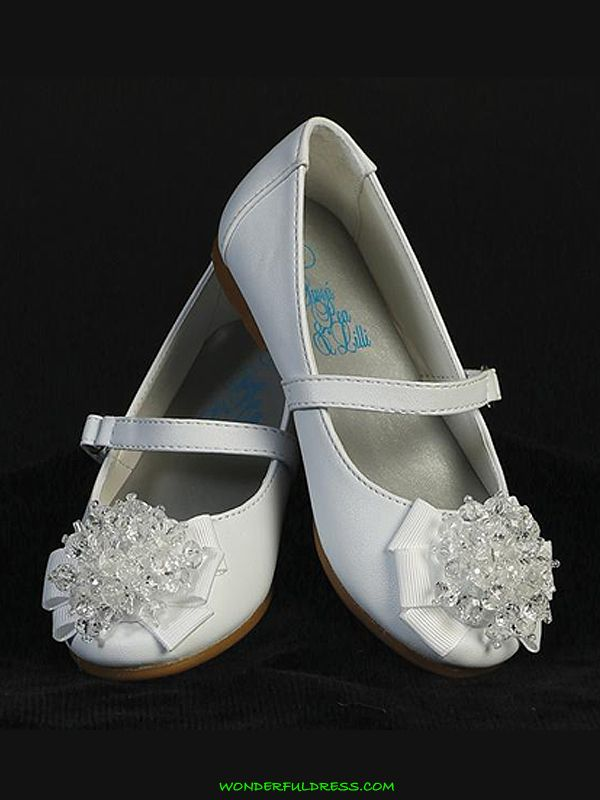 Flower Girl Dresses, Communion Dresses, Pageant Dresses - White Girl Flats Shoes with Pearl Bow