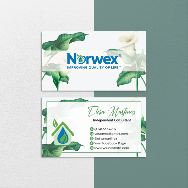 Floral Norwex Business Cards Personalized Norwex Template Cards Nr34 Cleaning Business Cards Custom Business Cards Personal Business Cards