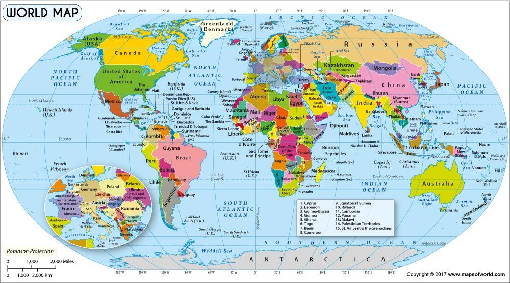 World Map in Robinson Projection (with Czechia) Call our country - best of world history map program