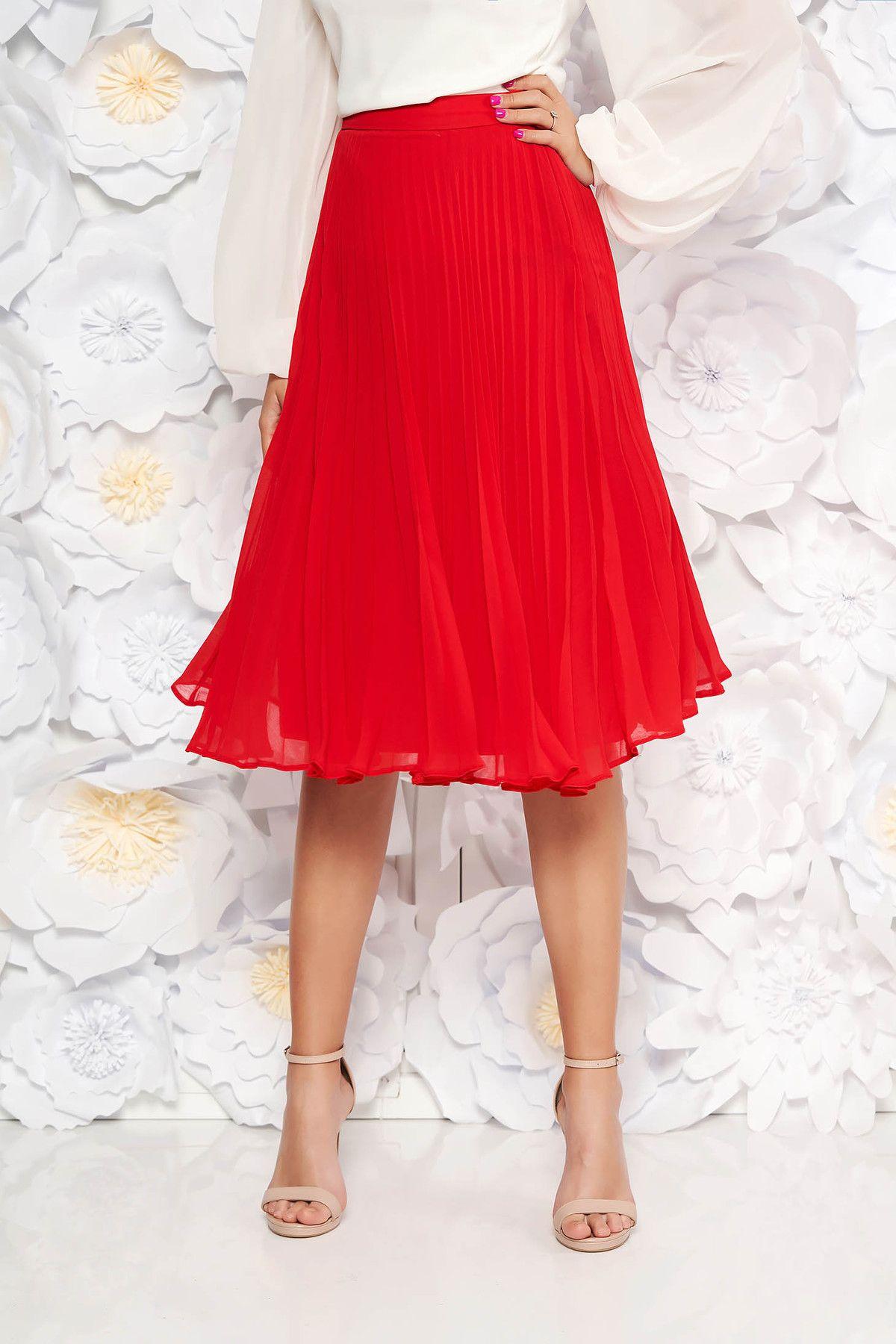 ajunge ieftin nou ridicat noi speciale Fusta StarShinerS rosie eleganta plisata in clos din voal cu talie inalta -  http://hainesic.ro/fuste/fusta-starshiners-rosie-… | Skirts, Elegant, High  waisted skirt