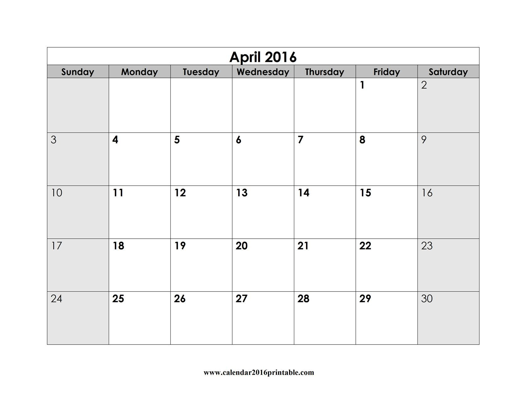 Free April 2016 Calendar That You Can Download Customize And Print