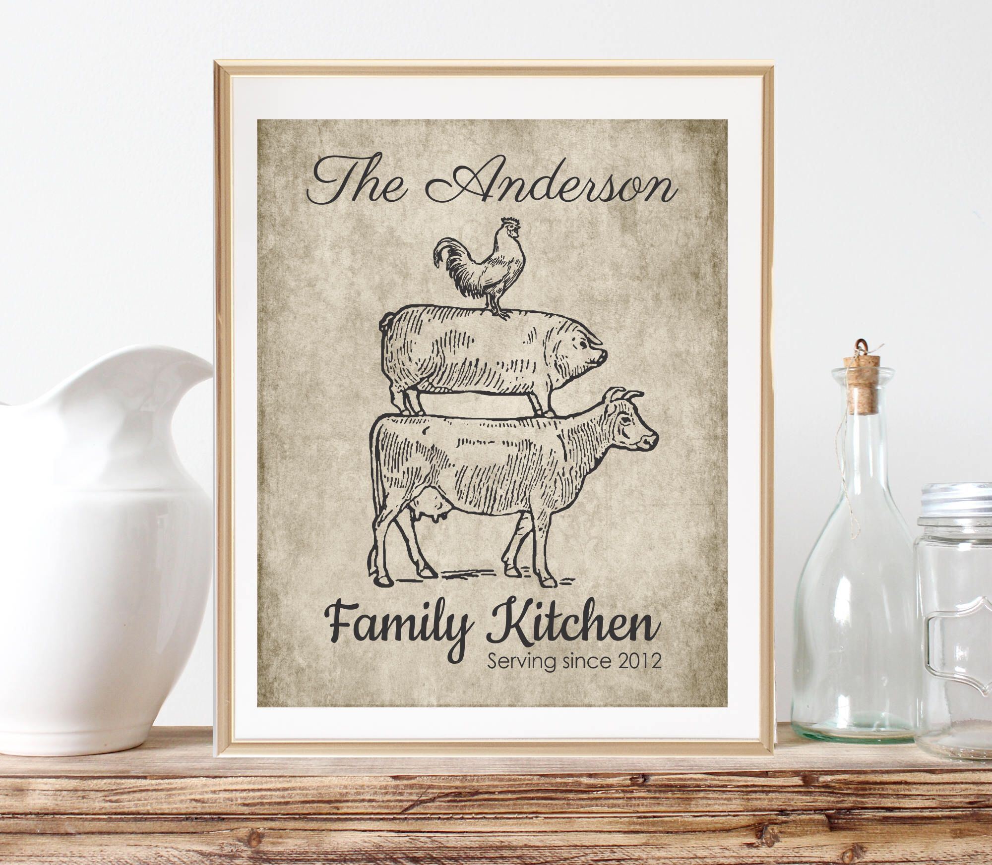 Personalized Kitchen Gifts, Farmhouse Decor, Rustic Country Kitchen ...