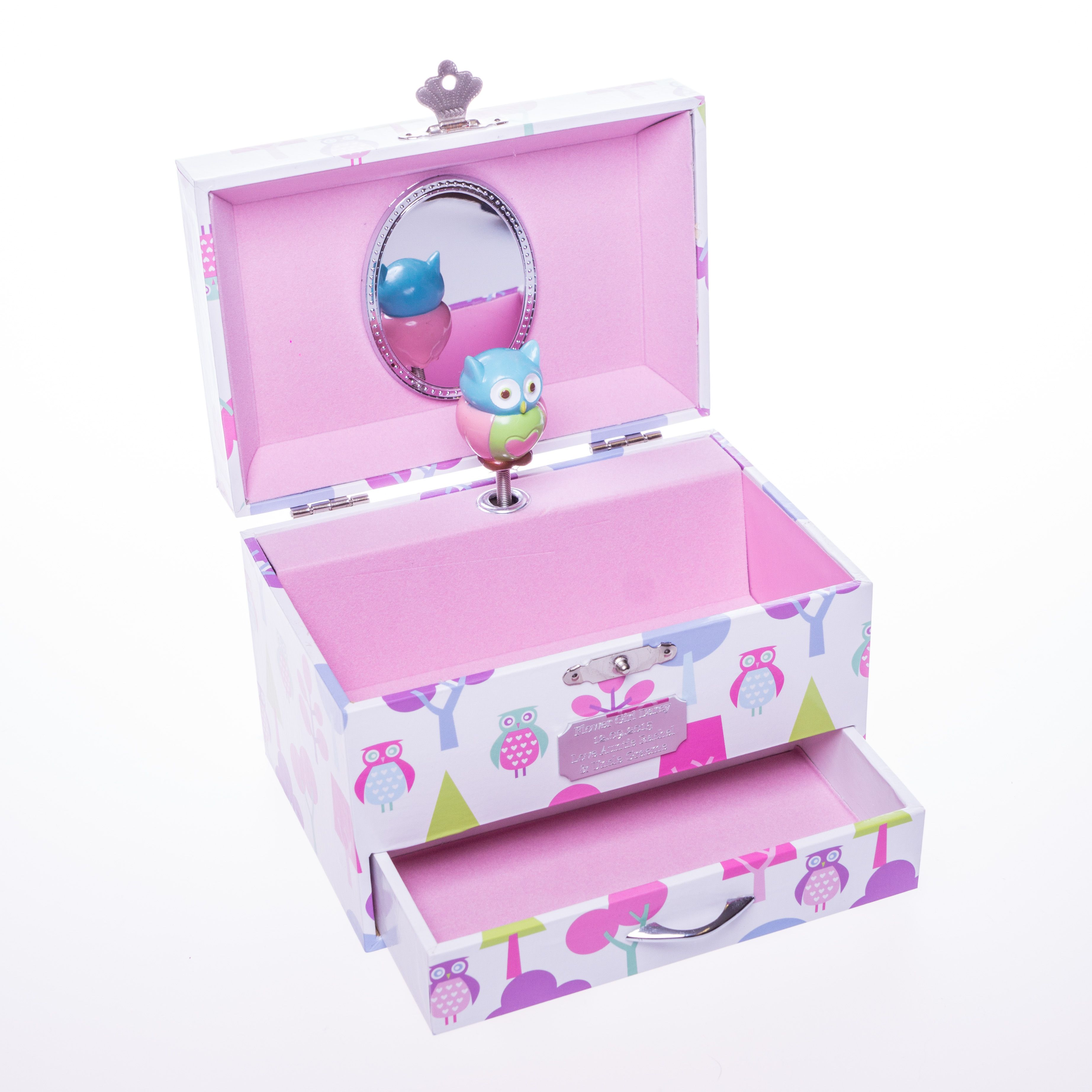 PERSONALISED OWL MUSICAL JEWELLERY BOX FOR FLOWER GIRLS ...