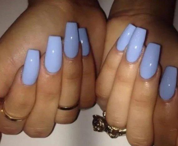 Periwinkle Long Coffin False Nails