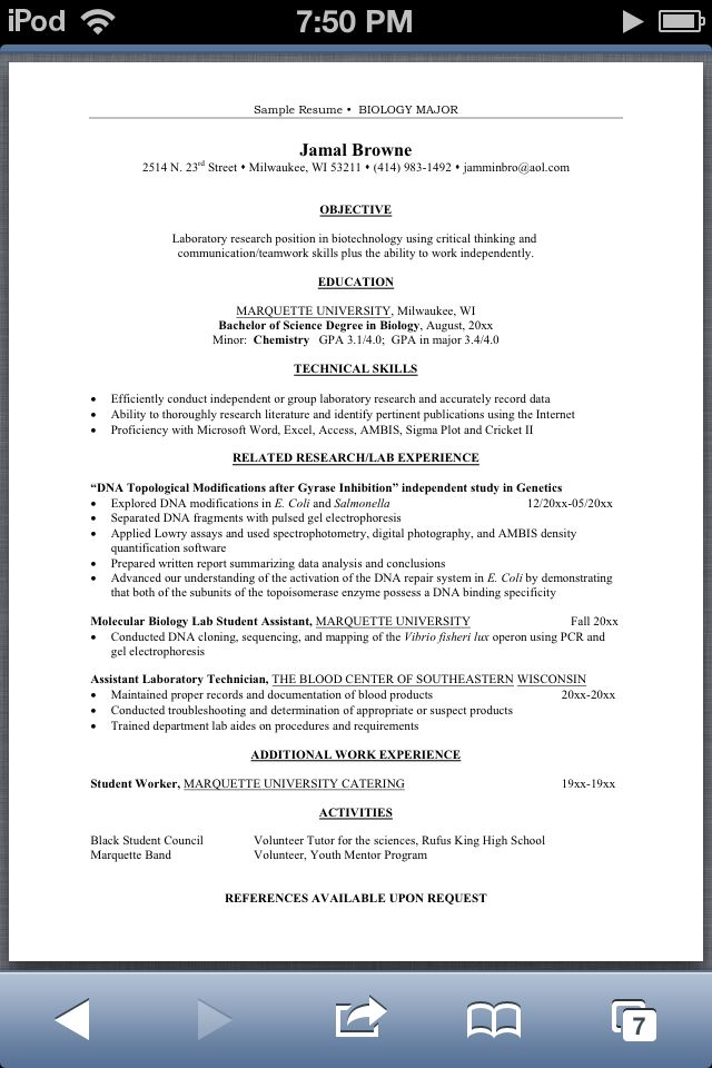Resume for Biology majors - Good idea for any major if you need a - reference for resume