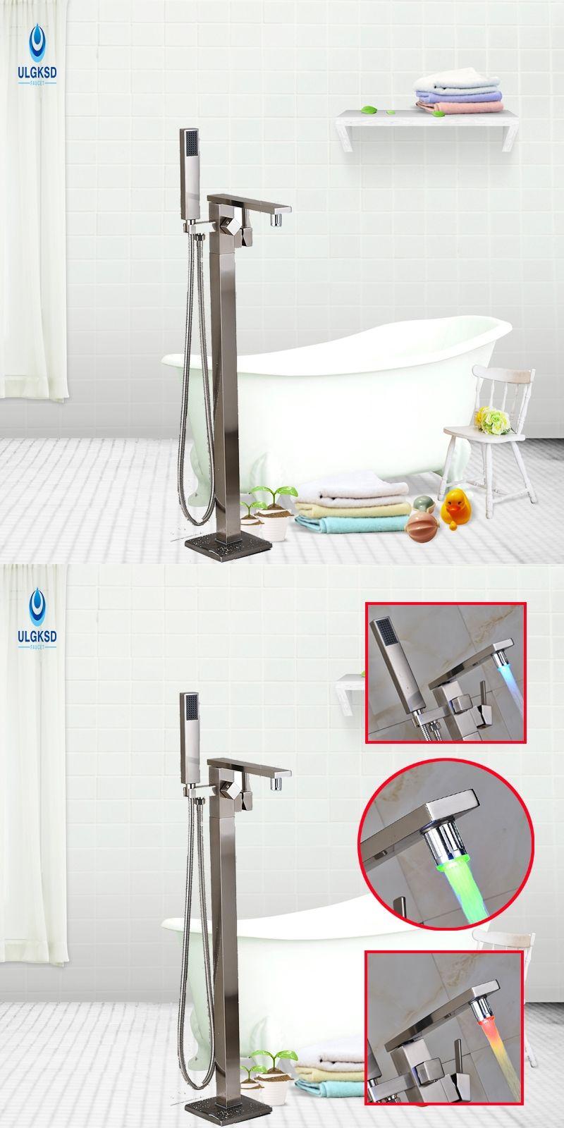 Ulgksd LED Change Bath Floor Standing Shower Faucet W/Hand Shower ...