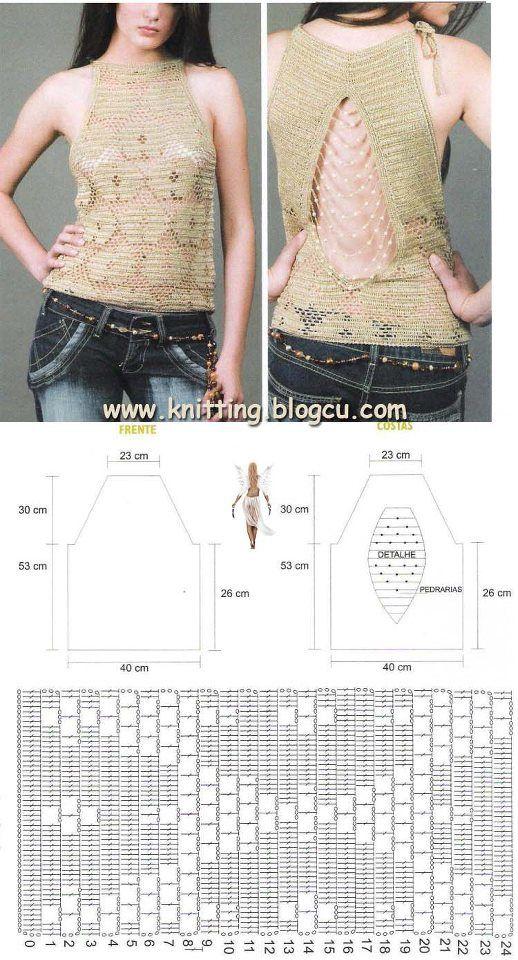 BLUSAS Y REMERAS CON PATRONES GRATIS A CROCHET | Graficos crochet ...