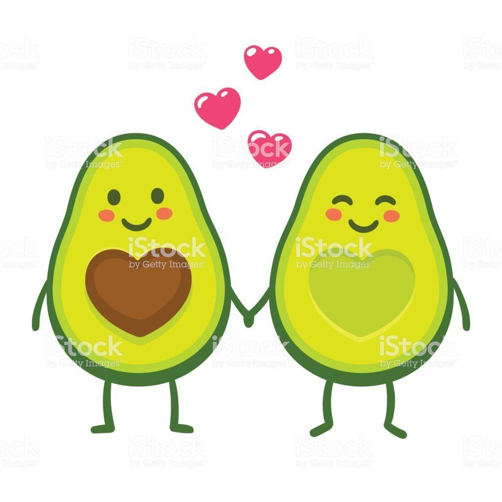 Cute Cartoon Avocado Couple Holding Hands Valentine S Day
