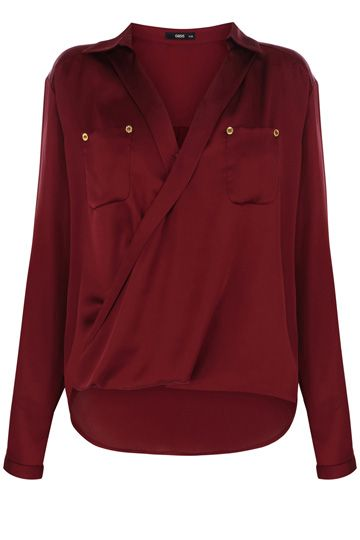 6187c62bb4701a Red Silk Wrap Shirt (Oasis)