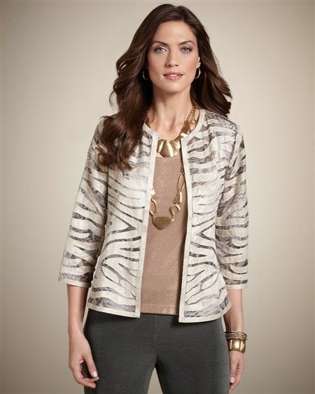 Patterned jacket, Travelers pants and cami top