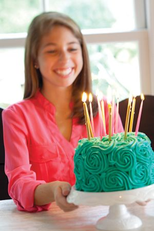 A Mini Rosette Cake With Extra Long Birthday Candles Someone Make This For My And Ill Love You Forever Always