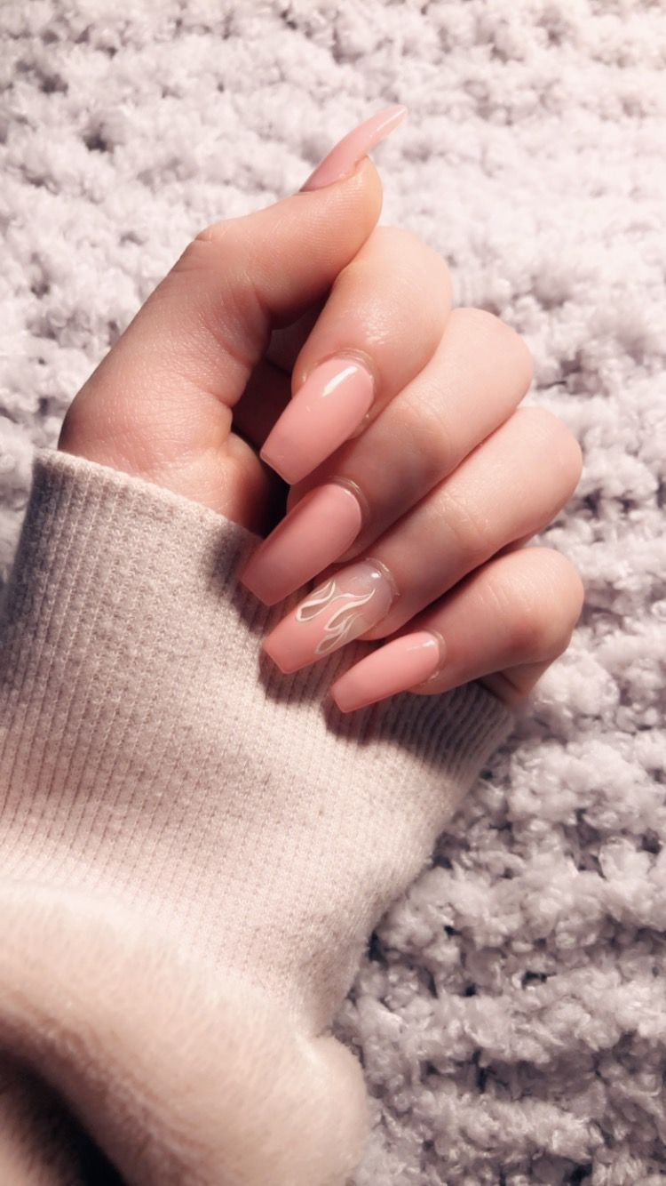 Baby Pink Acrylic Nails With One Finger Having A White And Pink Flame On A Clear Background With Images Clear Acrylic Nails Pink Acrylic Nails Nails