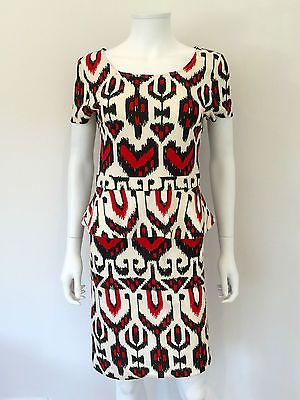 Alice By Temperley Printed Peplum Dress / Black, Red, Cream / RRP: £595.00