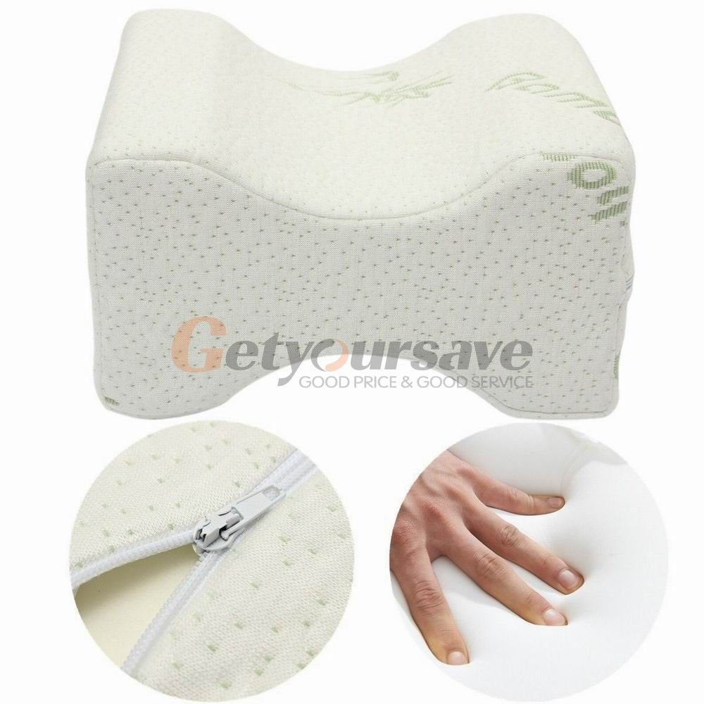White Memory Foam Knee Leg Pillow For Sleeping Cushion Support Pain Relief New