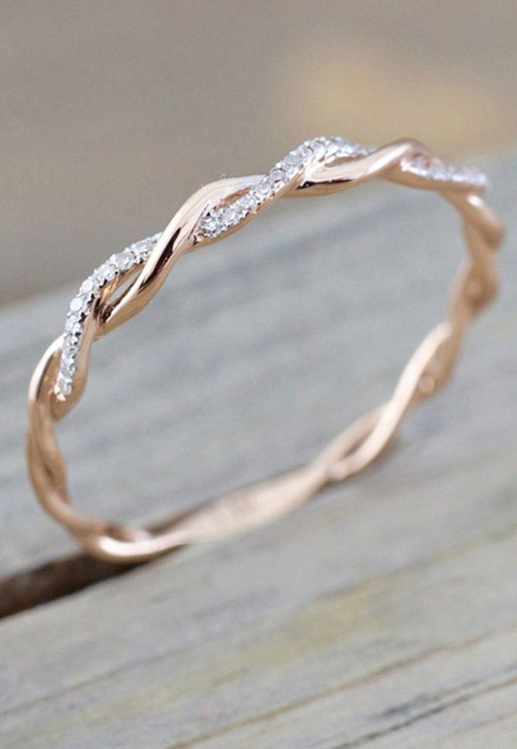 Daphne Dainty Crystal Rose Gold Twist Ring #weddingrings