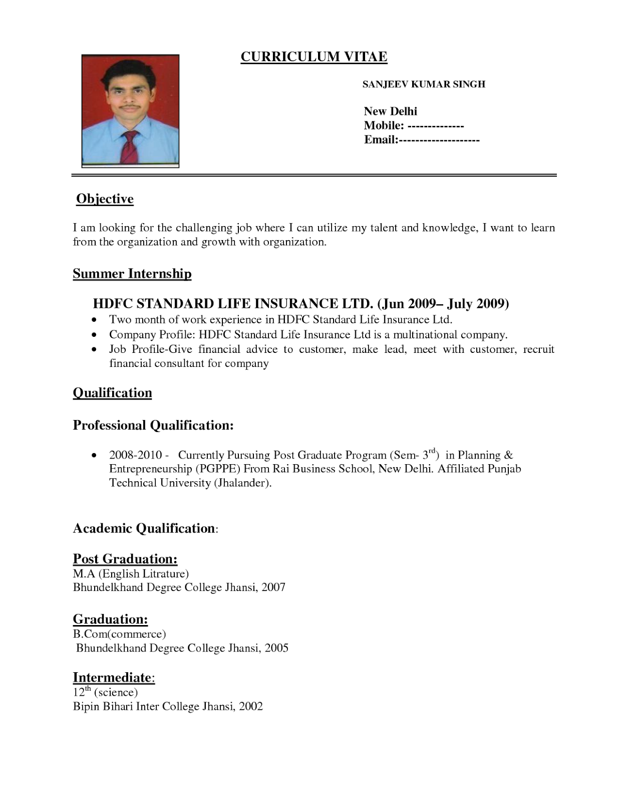 Pattern Of Resume Format Fitness Sample Resume Format