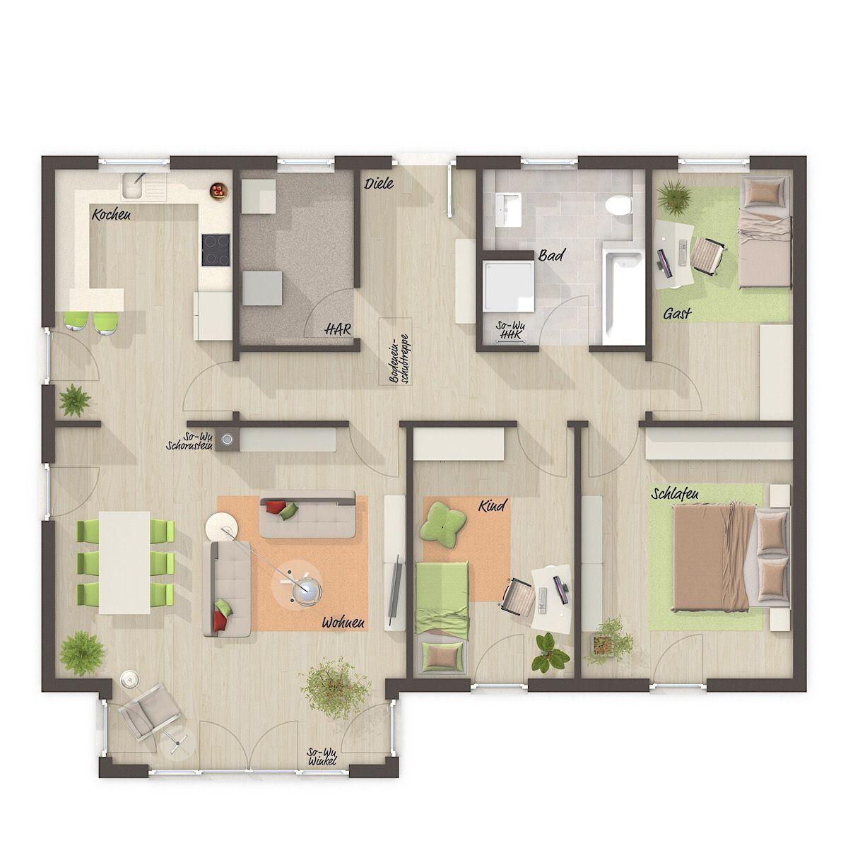 Bungalow Grundriss modern mit Walmdach Architektur & Erker
