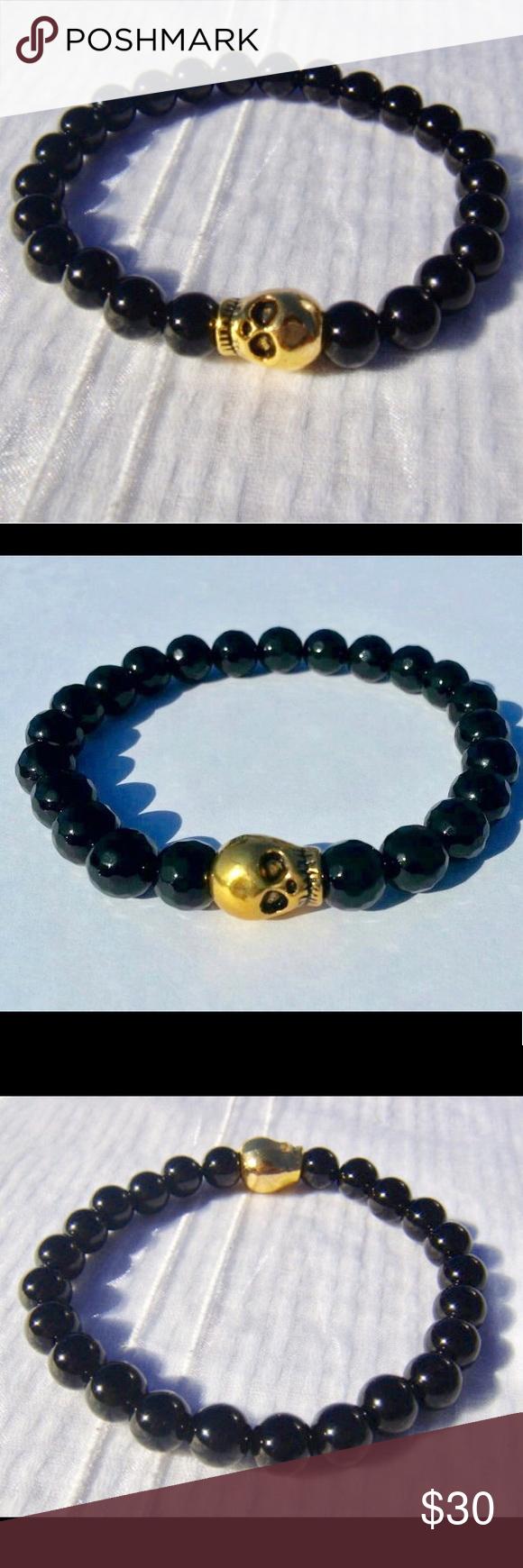 Handmade onyx bracelet w gold skull charm my posh picks