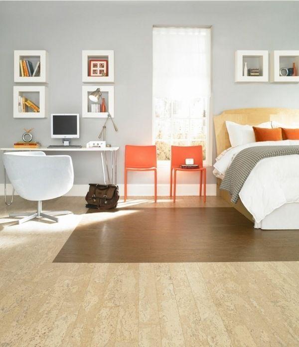 Bedroom Flooring Modern Cork Floor Tiles Natural Color And Grain