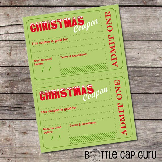 Printable Christmas Coupons   DIY Holiday by BottleCapGuru on Etsy - free printable vouchers templates