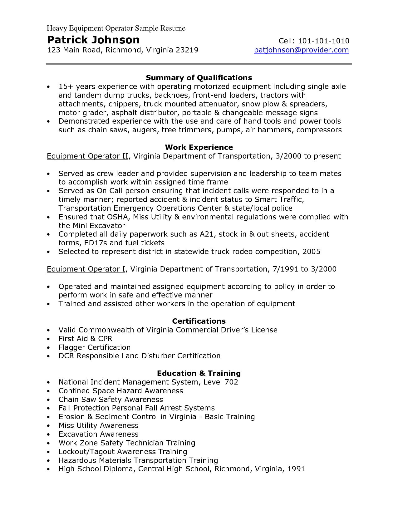 Resumes For Excavators Heavy Equipment Operator Sample Resume