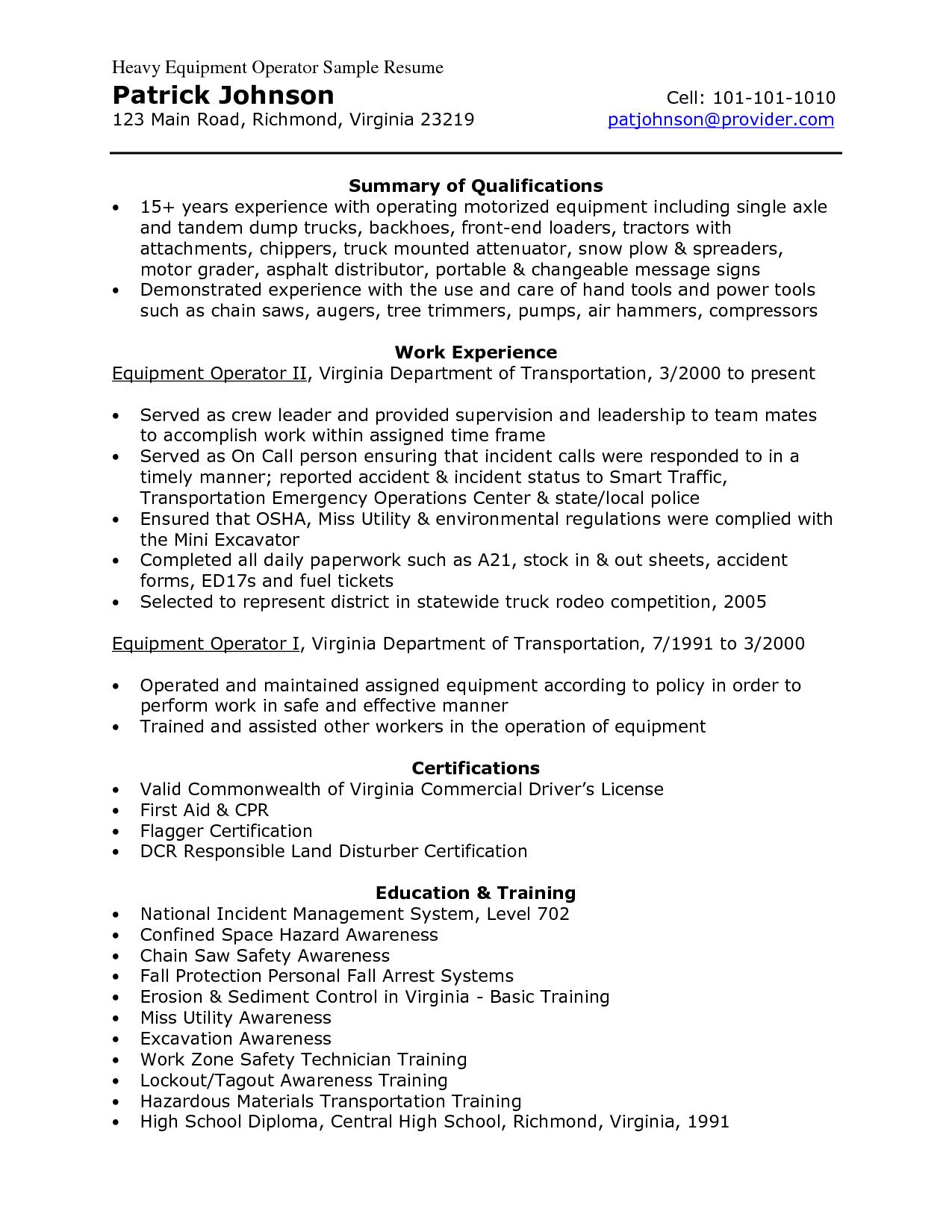 resumes for excavators  Heavy Equipment Operator Sample